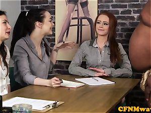casting CFNM gal agent jacking ebony spunk-pump