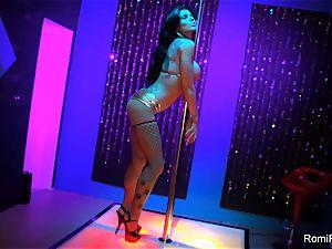 Romi Rain gets kinky on the stripper pillar