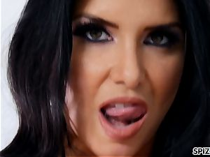 Romi Rain take a fat sausage all the way down her throat