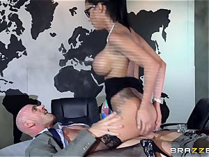 phat breasted Peta Jensen pulverized via the boardroom table
