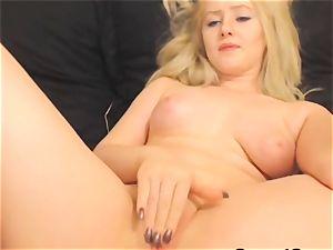 super-hot chesty honey Finger plumbs her vagina on webcam