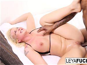 Leya gets a humungous black trunk in her rump