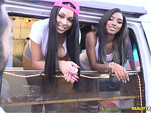 Raven Wylde and Bethany Benz facial in ice cream truck get labia boned