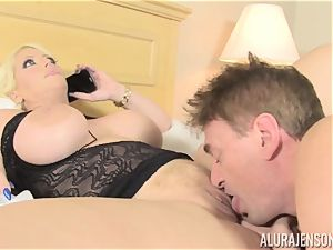 biz doll Alura Jenson makes her worker lick out his own jizz out of her pussy