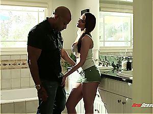 big-boobed stepdaughter rails her humungous black daddy