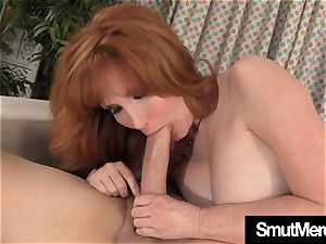 Mature sandy-haired plows stud