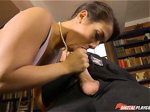 Headmistress Eva Lovia plays with her insane college girl