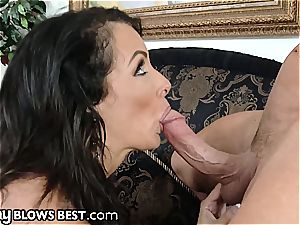 super-steamy milf Reagan dissolves a yam-sized sausage in her throat