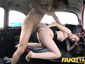 faux cab slender red-haired enjoys harsh sex