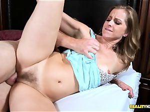 Miss Melrose fellates his rock hard knob while she fumbles her clit