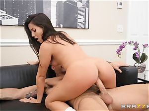 Natalie Brooks gags on that rock-hard lengthy man-meat