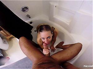 wet pov bathroom lovemaking with Nicole Aniston