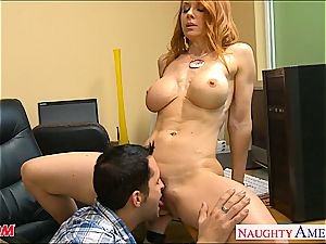 rock-hard bodied red-haired mom Janet Mason gets pulverized
