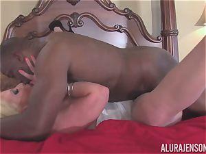Alura Jenson gets her pretty jaws filled with stiff ebony salami