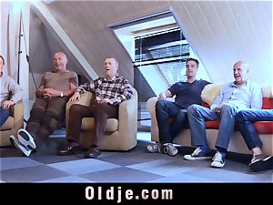 six oldman humping in gang a fantastic steamy blond