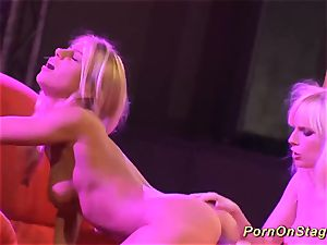 scorching all girl pornography demonstrate on public stage