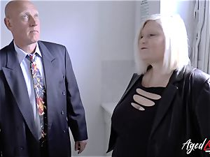 AgedLovE Mature female Lacey Starr deepthroating firm cock