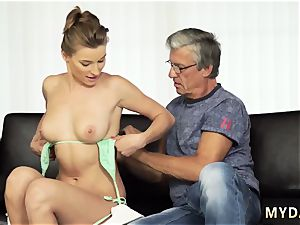 older white grandmother and daddy shows crony comrade s daughter-in-law anal first-ever time orgy with her