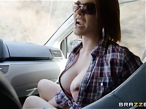 insatiable hitchhiker Krissy Lynn gets outdoor shafting
