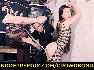 CROWD restrain bondage - Tiffany gal gets spanked in bdsm plumb