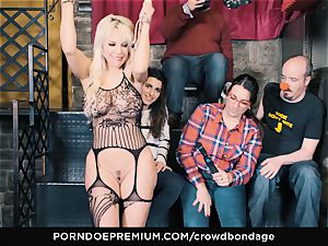 CROWD bondage - submissive towheaded Fesser raunchy domination & submission romp