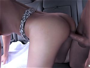 Joseline Kelly rides wood in the car and jizz strewn