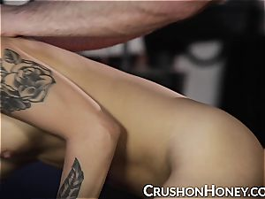 CrushGirls - diminutive babe Gold eyes covered and drilled