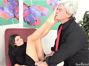 Adria Rae Gives a Footjob and Gets a cumshot on Toes
