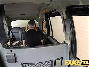 fake taxi butt licking suntanned honey with tiny rosy fuckbox