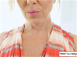 FirstClass pov - love Julia Ann blowing a huge yam-sized pipe