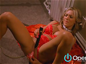 sizzling blondie with yam-sized bra-stuffers masturbates