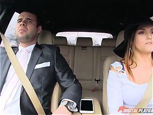 manhood tonguing Barbara Bieber in the car